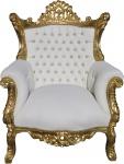 Casa Padrino Barock Sessel Al Capone Weiß / Gold mit Bling Bling Glitzersteinen