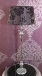 Casa Padrino Barock Tischleuchte Elegant und Edel Lila / Silber H 65 x B 25 cm - Tischlampe Leuchte Lampe