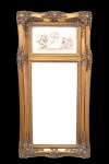 Casa Padrino Barock Wandspiegel Gold mit Engelsmotiven B 53 x H 107 cm - Edel & Prunkvoll