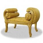 Casa Padrino Barock Schemel Gold 90 x 40 x H. 65 cm - Luxus Sitzbank