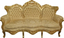 Casa Padrino Barock Sofa King Creme Barock Muster / Gold Mod2 - Möbel Lounge Couch