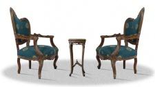 Casa Padrino Barock Salonstuhl Set mit Beistelltisch braun / blau mit Muster / bronze Nägel - Hotel Kollektion