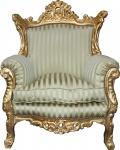 Casa Padrino Barock Sessel Al Capone Mod2 Jadegrün / Beige / Gold 85 x 65 x H. 127 cm - Möbel im Antik Stil