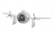 Casa Padrino Designer Luxus Tischuhr aus Aluminium Silberfarben - Edel & Prunkvoll - Tisch Uhr