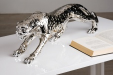 Skulptur Gepard antiksilber Höhe 20 cm, Länge 80 cm edle Skulptur aus Polyresin - Edel & Prunkvoll