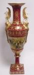 Casa Padrino Porzellan Vase mit 2 Griffen rot gold - Luxus Hotel Restaurant Vase