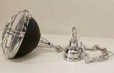 Casa Padrino Industrial Hängeleuchte Silber Vernickelt / Schwarz Druchmesser 49 cm - Industrie Design Vintage Lampe Leuchte