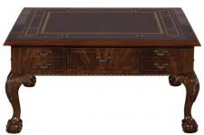 Casa Padrino Luxus Barock Wohnzimmertisch Dunkelbraun / Braun 100 x 100 x H. 49 cm - Couchtisch mit 20 Schubladen