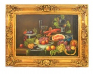 Handgemaltes Barock Öl Gemälde Mahl Gold Prunk Rahmen 130 x 100 x 10 cm - Massives Material