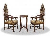 Casa Padrino Barock Thronstuhl Set mit Beistelltisch - Luxus Edition