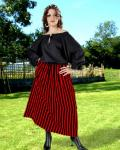 Striped Wench Skirt red/black- Medieval Skirt Pirate