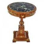 Casa Padrino Barock Beistelltisch mit Marmorplatte Mahagoni / Gold H80 x 55cm - Empire Antik Stil Tisch - Möbel