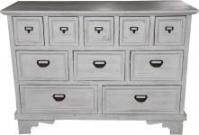 Casa Padrino Shabby Chic Landhaus Stil Kommode mit 10 Schubladen Antik Weiß B 113 cm, H 84 cm - Antik Kommode