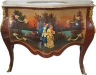 Casa Padrino Barock Waschtisch Braun mit Malerei und cremefarbener Marmorplatte - Luxus Barock Badezimmermöbel