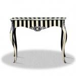 Casa Padrino Barock Konsole Schwarz Weiß Silber 100 x 40 x H. 85 cm - Luxus Möbel