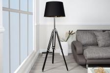 Designer Stativ-Lampe, Stehleuchte in Schwarz H: 91 - 153 cm - Tripod floor lamp