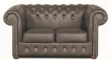 Casa Padrino Chesterfield Echtleder 2er Sofa in dunkelgrau mit Swarovski Kristallsteinen 160 x 90 x H. 78 cm - Luxus Kollektion