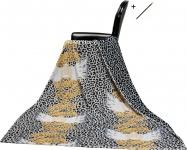 Harald Glööckler Designer Wohndecke 150 x 200 cm Leo Schwarz / Weiß / Gold + Casa Padrino Luxus Barock Bleistift mit Kronendesign