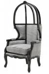 Casa Padrino Luxus Barock Thron Sessel Schwarz / Grau Kariert - Balloon Chair -Thron Stuhl Tron