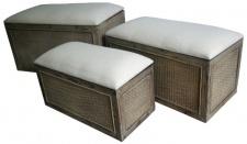 Casa Padrino Landhausstil Sitzbank 3er Set Braun / Beige - Handgefertigte Sitzbänke mit Stauraum und gepolsterten Sitzflächen