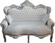 Casa Padrino Barock 2-er Sofa King Weiß Lederoptik / Silber - Wohnzimmer Couch Möbel Lounge