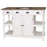 Casa Padrino Landhaus Stil Waschschrank Waschtisch inkl 1 Waschbecken Weiß / Holz mit Schubladen - Bad Schrank