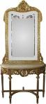 Casa Padrino Barock Spiegelkonsole Gold mit Marmorplatte und mit schönen Barock Verzierungen auf dem Spiegelglas Mod7 - Antik Look