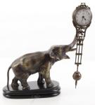 Casa Padrino Luxus Tischuhr Elefant auf Marmorsockel Bronze / Schwarz 24, 5 x 14 x H. 28 cm - Bronzefigur mit Uhr