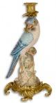 Casa Padrino Jugendstil Kerzenständer Mehrfarbig / Gold 15, 9 x 15, 3 x H. 36, 3 cm - Messing Kerzenhalter mit Porzellan Papagei