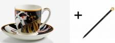 Harald Glööckler Porzellan Espressotasse mit Untertasse Mod1 + Luxus Bleistift von Casa Padrino - Barock Dekoration