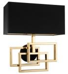Casa Padrino Designer Wandleuchte in gold mit schwarzem Lampenschirm 35 x 18 x H. 38 cm - Luxus Wandlampe