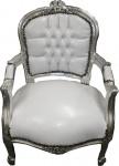 Barock Kinder Stuhl Weiß/Silber - Armlehnstuhl