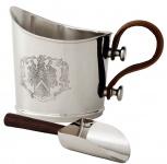 Casa Padrino Luxus Eiseimer mit Schaufel Set Silber / Braun 34 x 21 x H. 24 cm - Hotel & Restaurant Accessoires