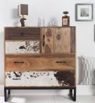 Casa Padrino Designer Kommode Kuhfell Natur 90 cm - Massivholz