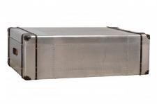 Casa Padrino Art Deco Designer Flieger Couchtisch Aluminium mit Lederapplikationen und 2 Schubladen 100 x 60 x 45 cm - Vintage Look