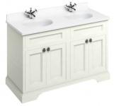 Casa Padrino Doppel Waschschrank / Waschtisch mit Marmorplatte und 4 Türen 130 x 55 x H. 93 cm