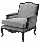 Casa Padrino Luxus Barock Lounge Sessel Schwarz / Grau Kariert Mod2