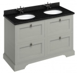 Casa Padrino Doppel Waschschrank mit Granitplatte und 4 Schubladen 130 x 55 x H. 93 cm