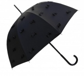 Guy De Jean Designer Regenschirm Schwarz mit aufgesetzten Schleifen - Stockschirm - Elegant und Extravagant - Made in Paris