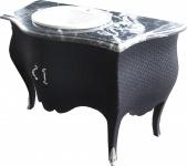 Casa Padrino Luxus Barock Waschtisch Kommode Schwarz Stoffbezug mit Marmorplatte - Luxus Barock Badezimmermöbel
