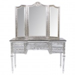 Casa Padrino Barock Schmink Konsole mit Spiegel Silber 120 x 40 x H155 cm - Schlafzimmer Spiegelkonsole mit Schubladen