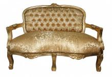 Casa Padrino Barock Kinder Sitzbank Gold Muster/Gold Antik Stil
