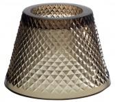 Casa Padrino Glas Teelichthalter-Lampenschirm Braun Ø 15 x H. 12, 5 cm - Luxus Accessoires