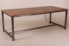 Casa Padrino Vintage Teak Esstisch Holzfarben mit Metallgestell - Landhaus Stil Tisch Teakholz