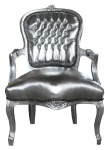 Casa Padrino Barock Salon Stuhl Silber / Silber