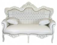 Casa Padrino Barock 2er Sofa Master Weiß Lederoptik / Weiß mit Bling Bling Glitzersteinen - Wohnzimmer Couch Möbel Lounge