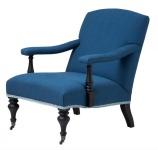 Luxus Barock Salon Sessel Blau/Schwarz aus der Luxus Kollektion von Casa Padrino - Hotel Cafe Restaurant Möbel Einrichtung