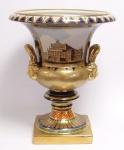 Casa Padrino Barock Porzellan Vase mit 2 Griffen H. 47, 5 cm - Edel & Prunkvoll