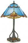 Casa Padrino Tiffany Tischleuchte Blau / Mehrfarbig Ø 40 x H. 60 cm - Handgefertigte Luxus Hockerleuchte aus 244 Teilen
