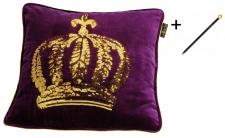 Harald Glööckler Designer Zierkissenhülle Krone mit Pailletten Lila / Gold 50 x 50 cm + Casa Padrino Luxus Barock Bleistift mit Kronendesign
